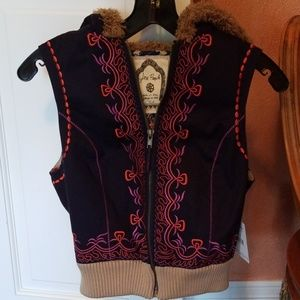 Free People embroidered hooded vest